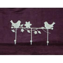 Patère murale en fer motif oiseaux