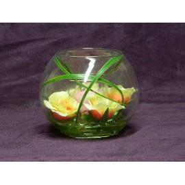 Photophore en verre fleurs et bougie