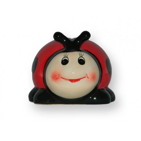 Tirelire coccinelle rouge a pois noirs for Coccinelle decoration exterieure