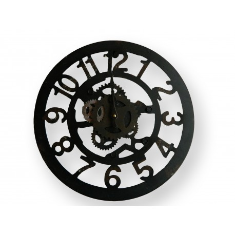 horloge murale ronde en fer forge et ses chiffres standard. Black Bedroom Furniture Sets. Home Design Ideas