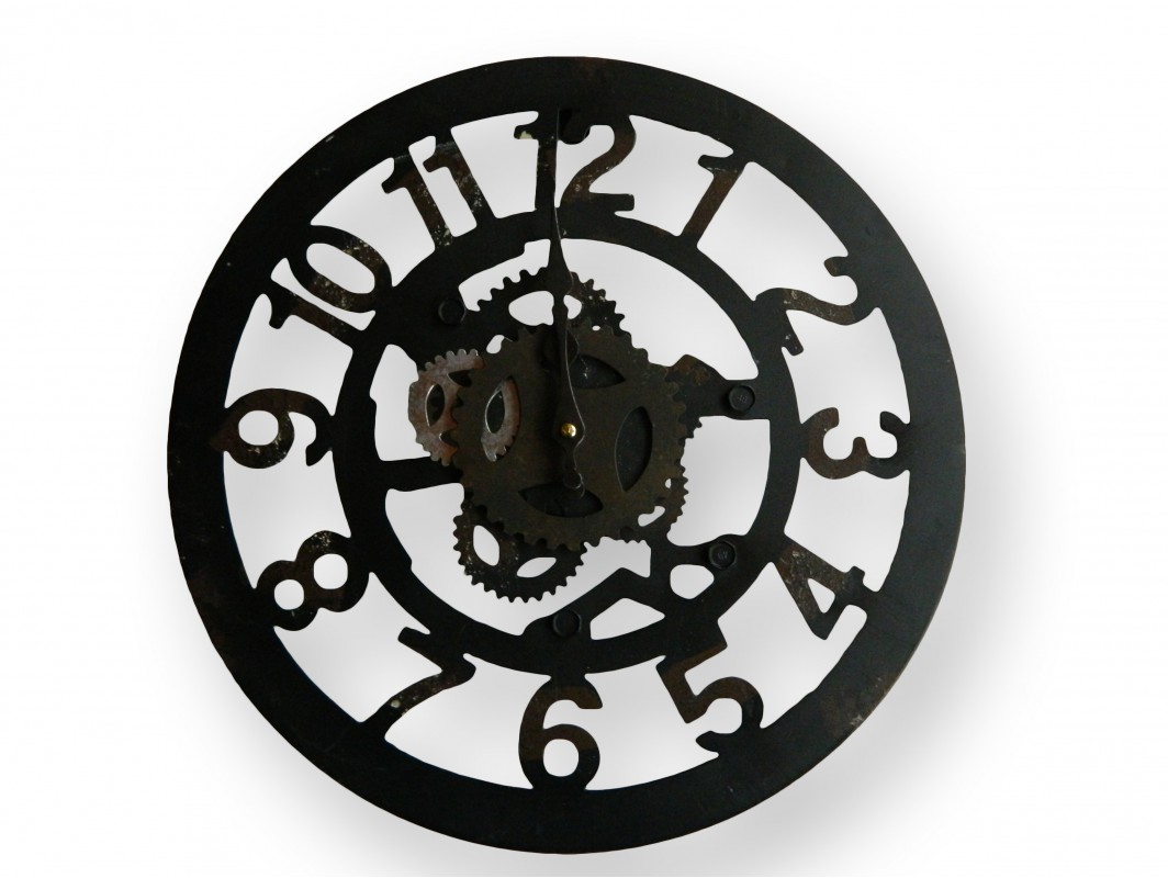horloge murale ronde en fer forge et ses chiffres standard pas chere. Black Bedroom Furniture Sets. Home Design Ideas