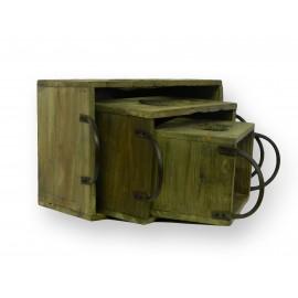 Set de 3 casiers gigognes en bois avec anse