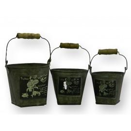 Set de 3 pots en zinc gigognes avec motifs
