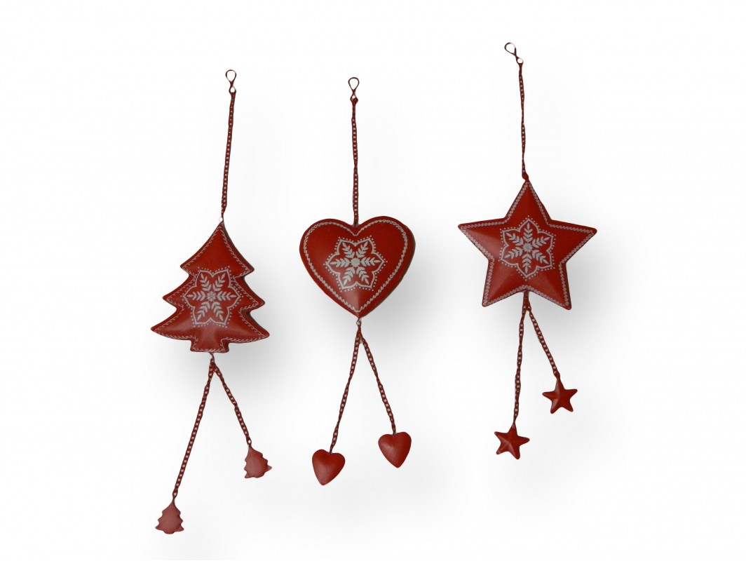 Decoration de no l en metal rouge suspendre pas chere for Decoration noel pas chere