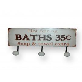 Patère métal 3 crochets salle de bain