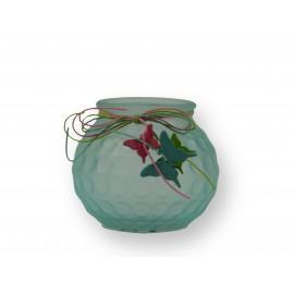 Photophore en verre coloré et papillons