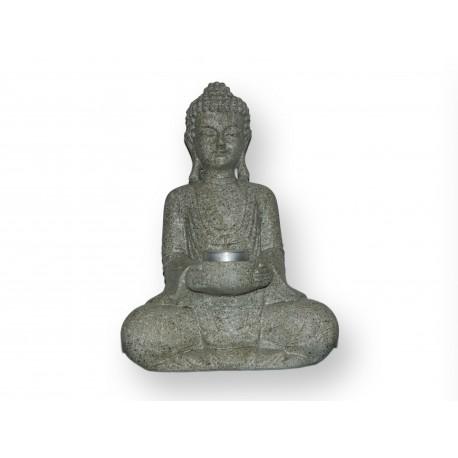 Bouddha assis en résine et son porte-bougie