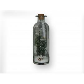Message dans sa bouteille en verre motifs sapin de Noël