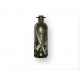 Message dans sa bouteille en verre motifs or