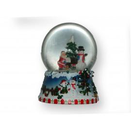 Boule musicale enneigée Père-Noël bonhomme de neige et sapin