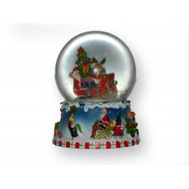 Boule musicale enneigée Père-Noël renne et sapin
