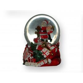 Boules musicale enneigéé 2 Pères-Noël dans sac