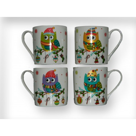 Lot de 4 tasses chouette