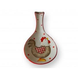 Pose couvert en céramique motif poule