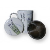 Tasse à thé avec filtre motif lavande