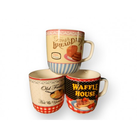 Lot de 3 tasses retro